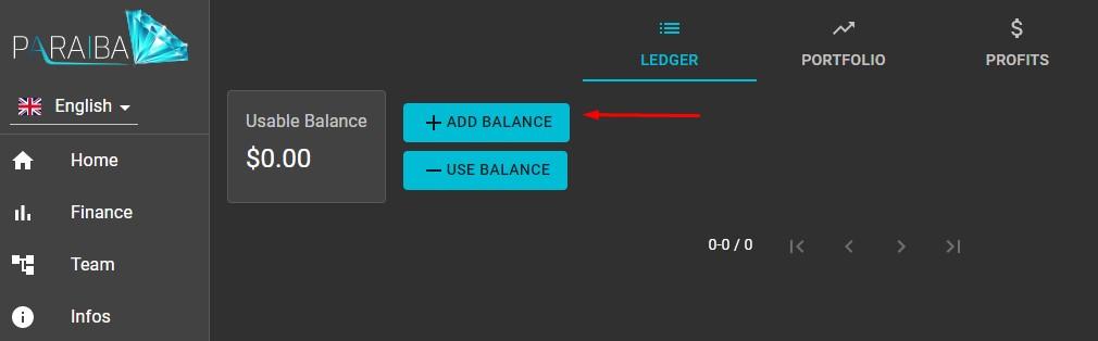 Paraiba World Deposit Step 2: Click On Add Balance