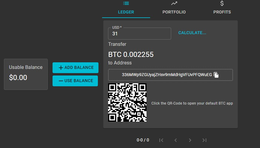 Paraiba World Deposit Step 4: Send Bitcoin to your wallet